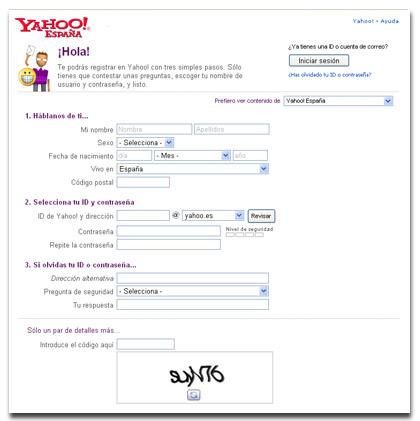 Crear cuenta en yahoo