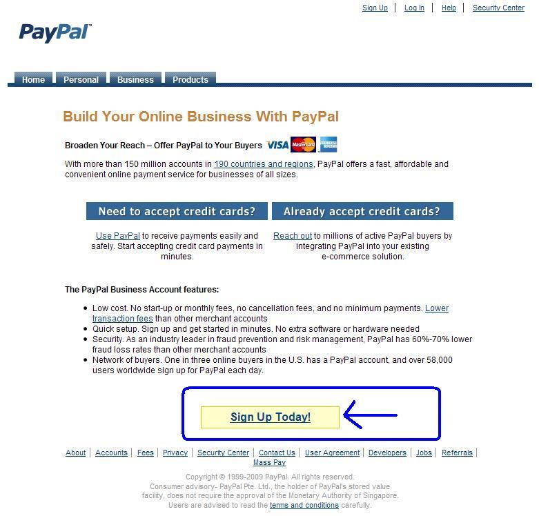 Crear cuenta en PayPal