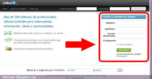 Registrarse en Linkedin