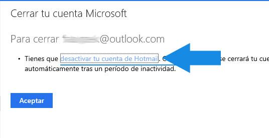 cerrar cuenta de Outlook