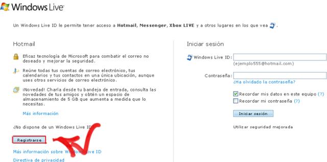 Hotmail.com registrarse